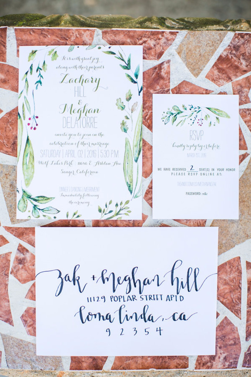 Organic chic wedding invitation suite