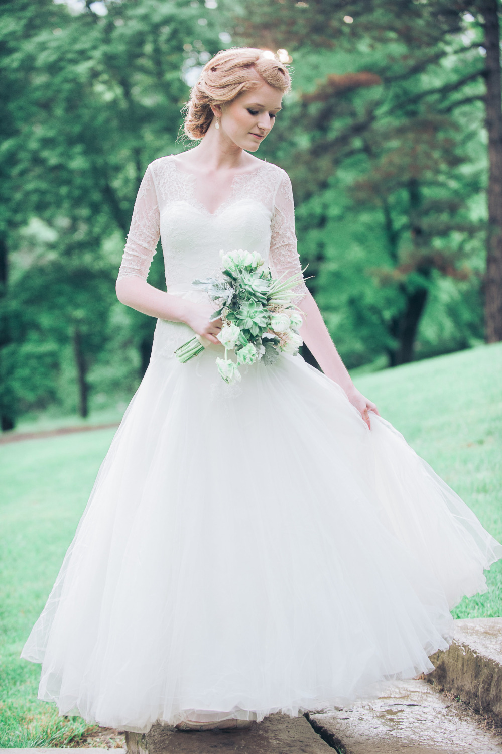 gorgeous wedding gown with sheer sleeves