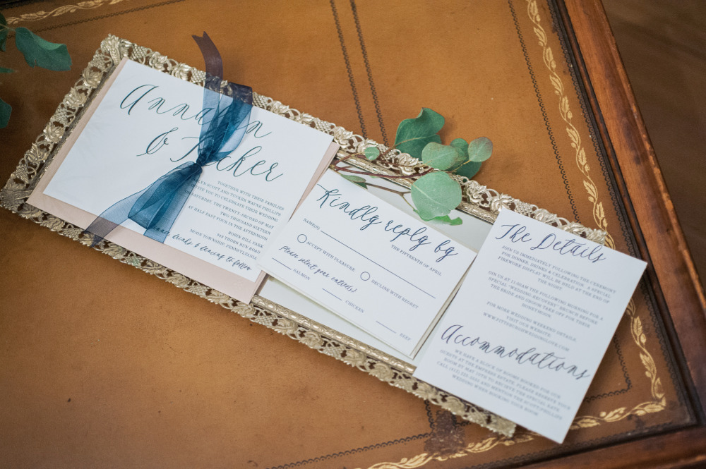 navy blue script wedding invitation suite