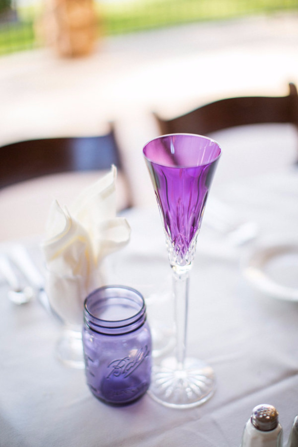 Purple wedding glasses