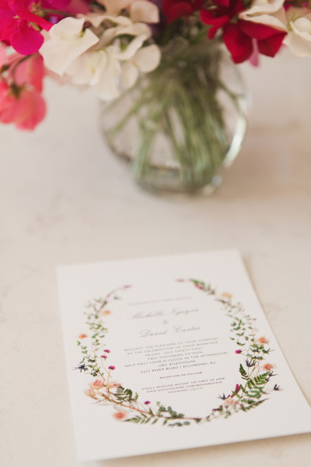 elegant flower accented wedding invitation