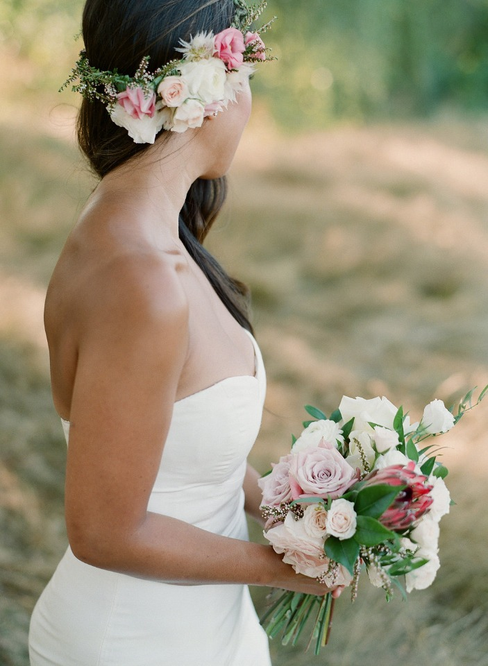 tropical style flower halo and wedding bouquet