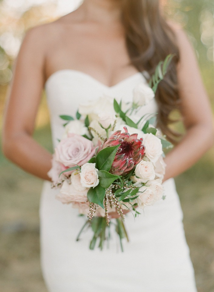 protea and rose bouquet
