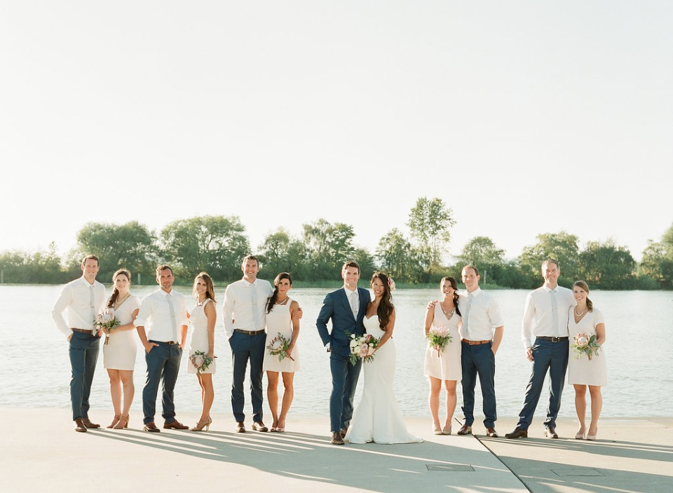 blush navy and grey wedding party