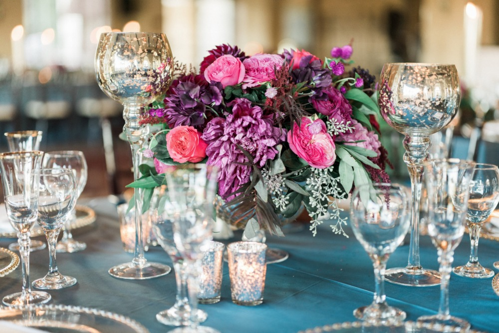 Centerpiece idea with jewel tones