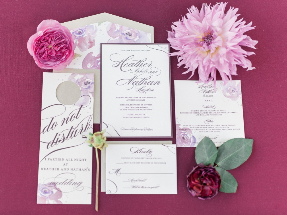 Berry wedding invitation suite