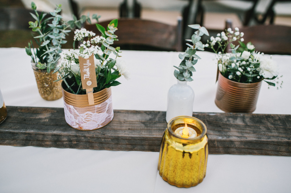 tin can and wood table runner idea