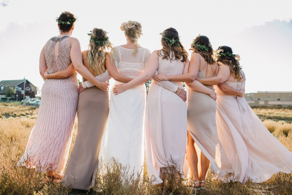 pink and taupe bridemaids dresses