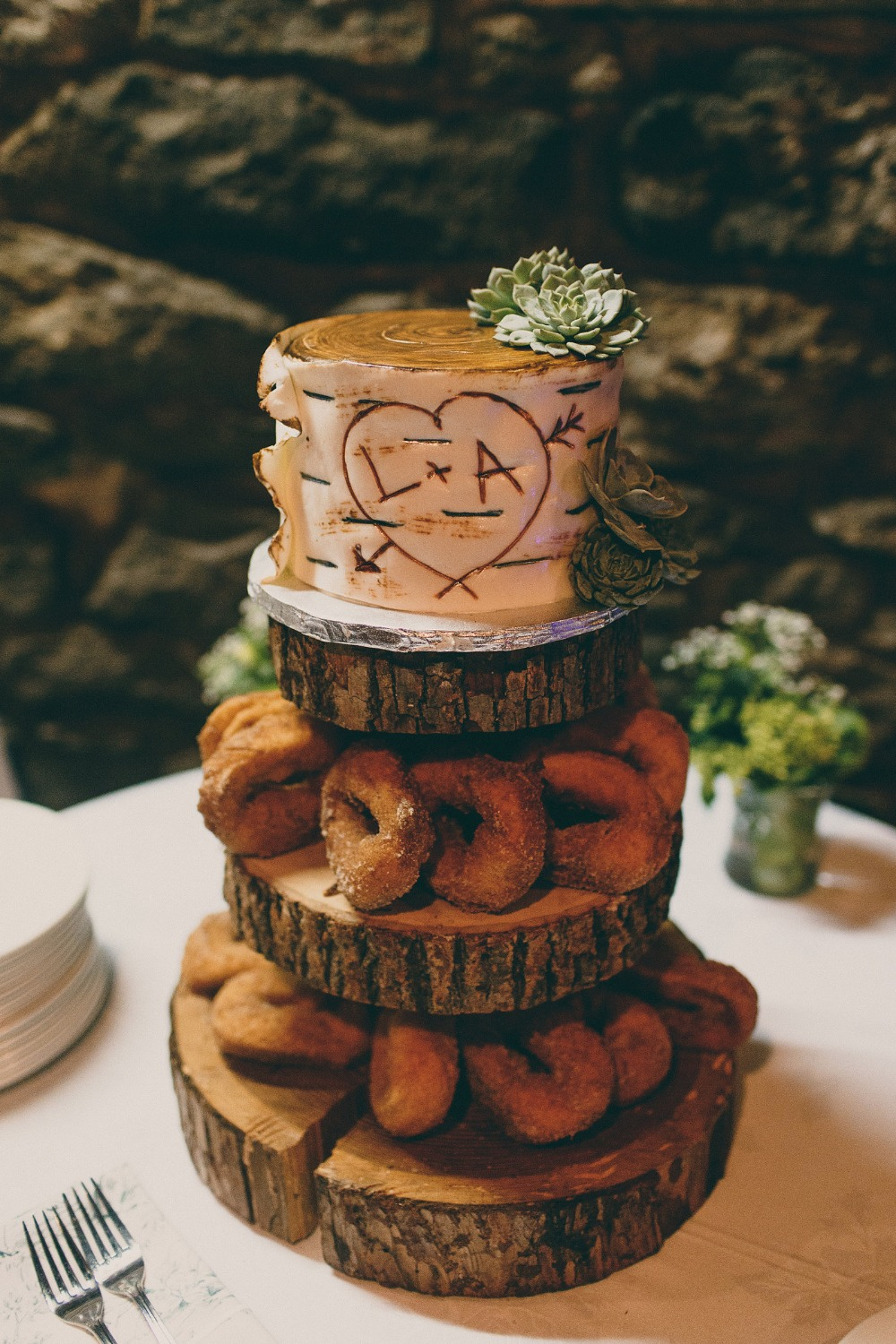 rustic mini wedding cake with apple cider donuts