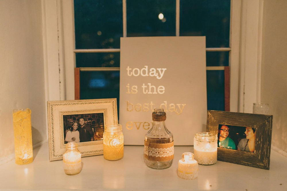 shabby chic wedding decor with candles and pictures