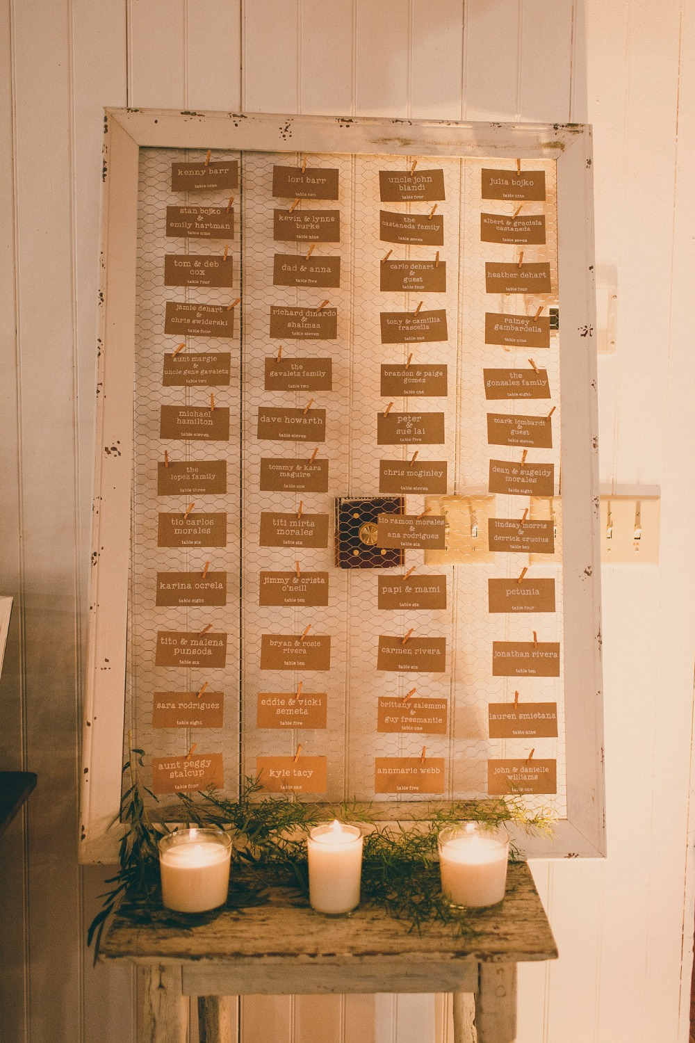 escort card display in cute rustic frame