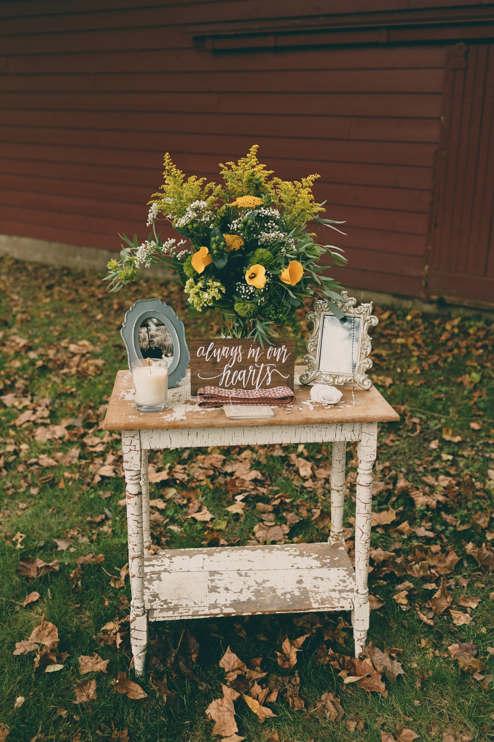 shabby chic reception welcome table for fall wedding