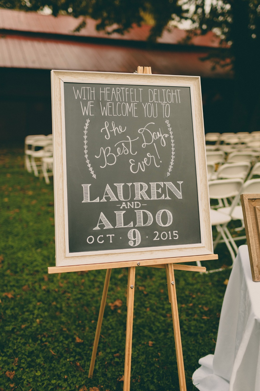 framed chalkboard wedding welcome sign