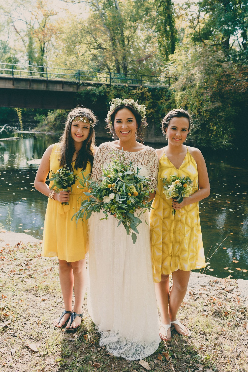 bridesmaids in mismatched yellow dresses
