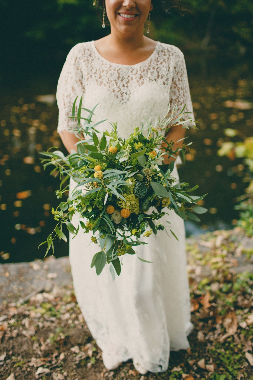 loose style bouquet in green and yellow
