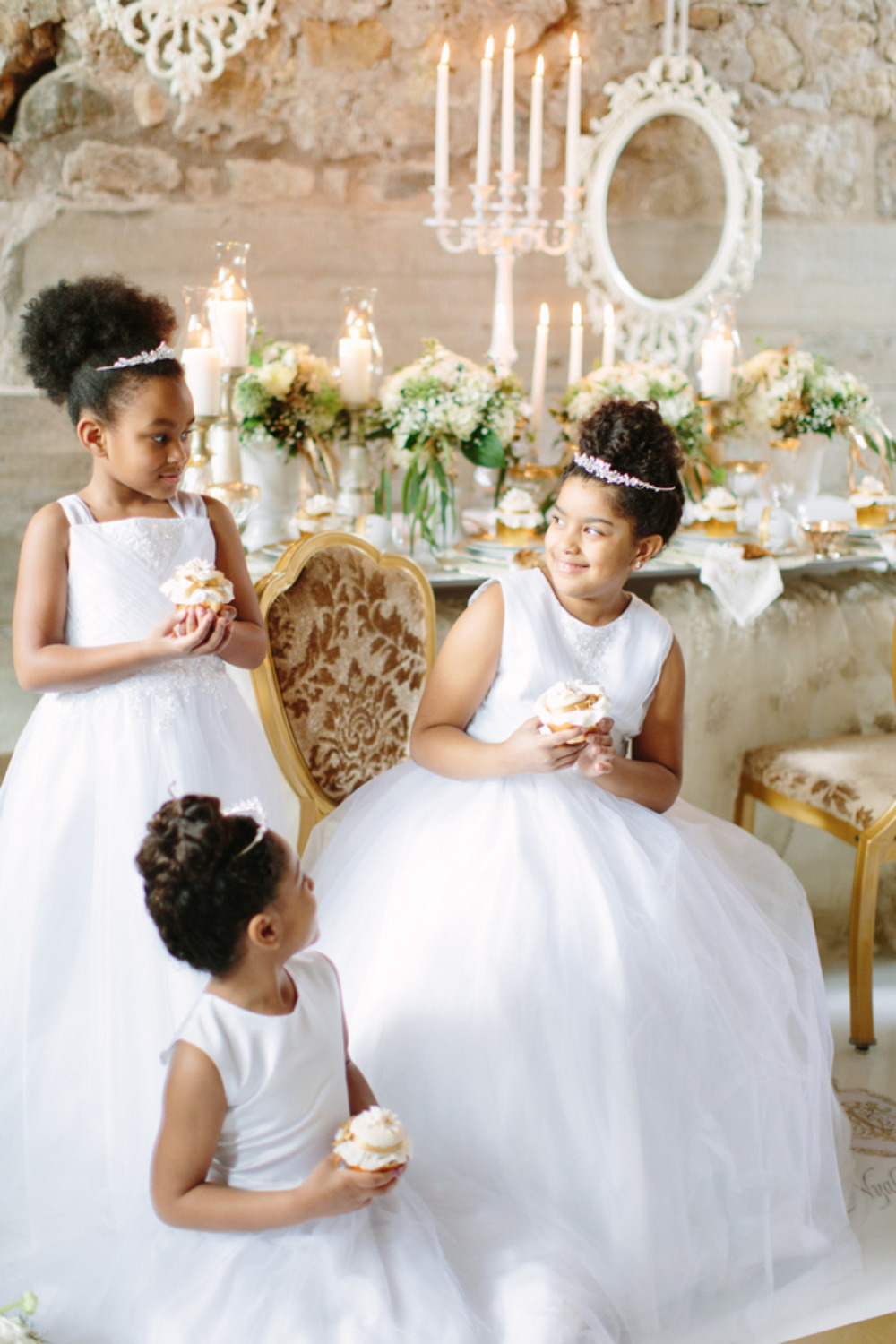 flower girls with jeweled crowns