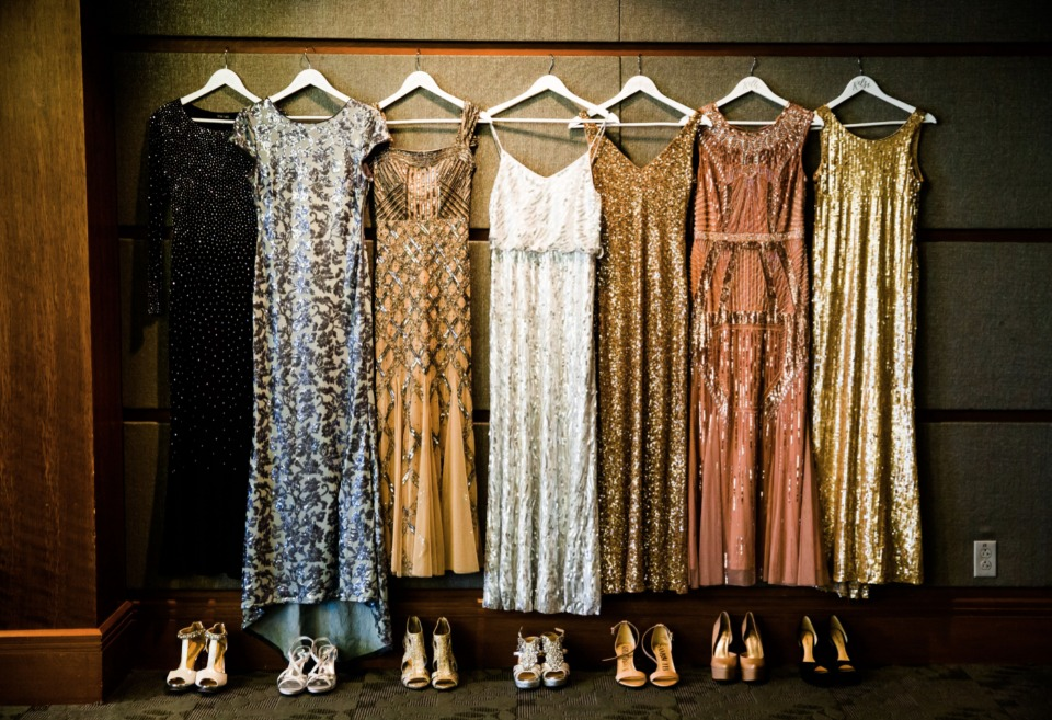 mismatched metallic bridesmaid dresses and shoes