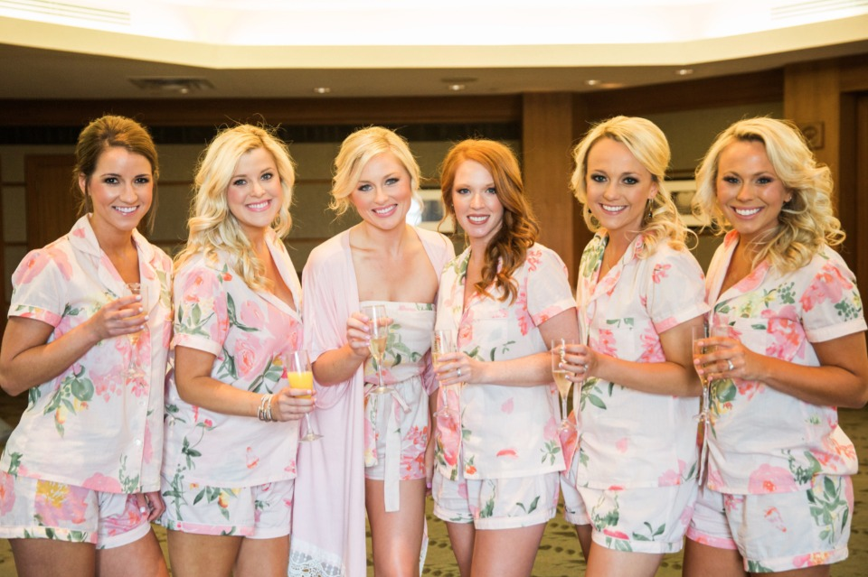cute bridesmaids getting ready outfits