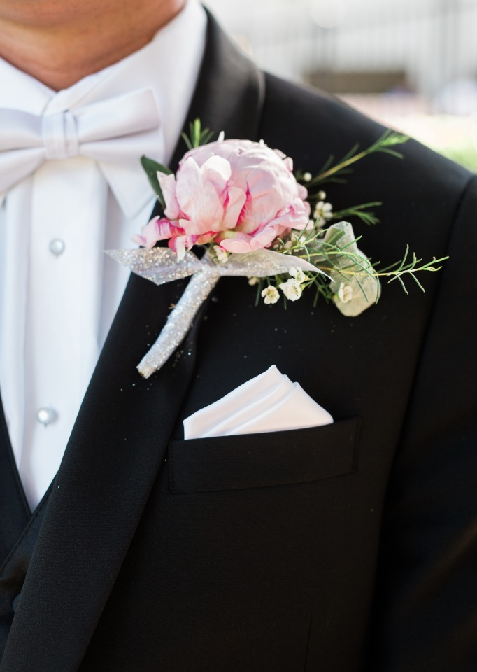 grooms pink peony boutonniere