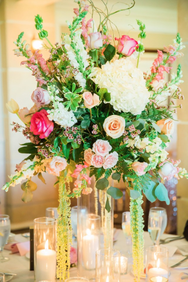 pink and white glam centerpiece