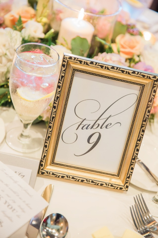 framed calligraphy table number