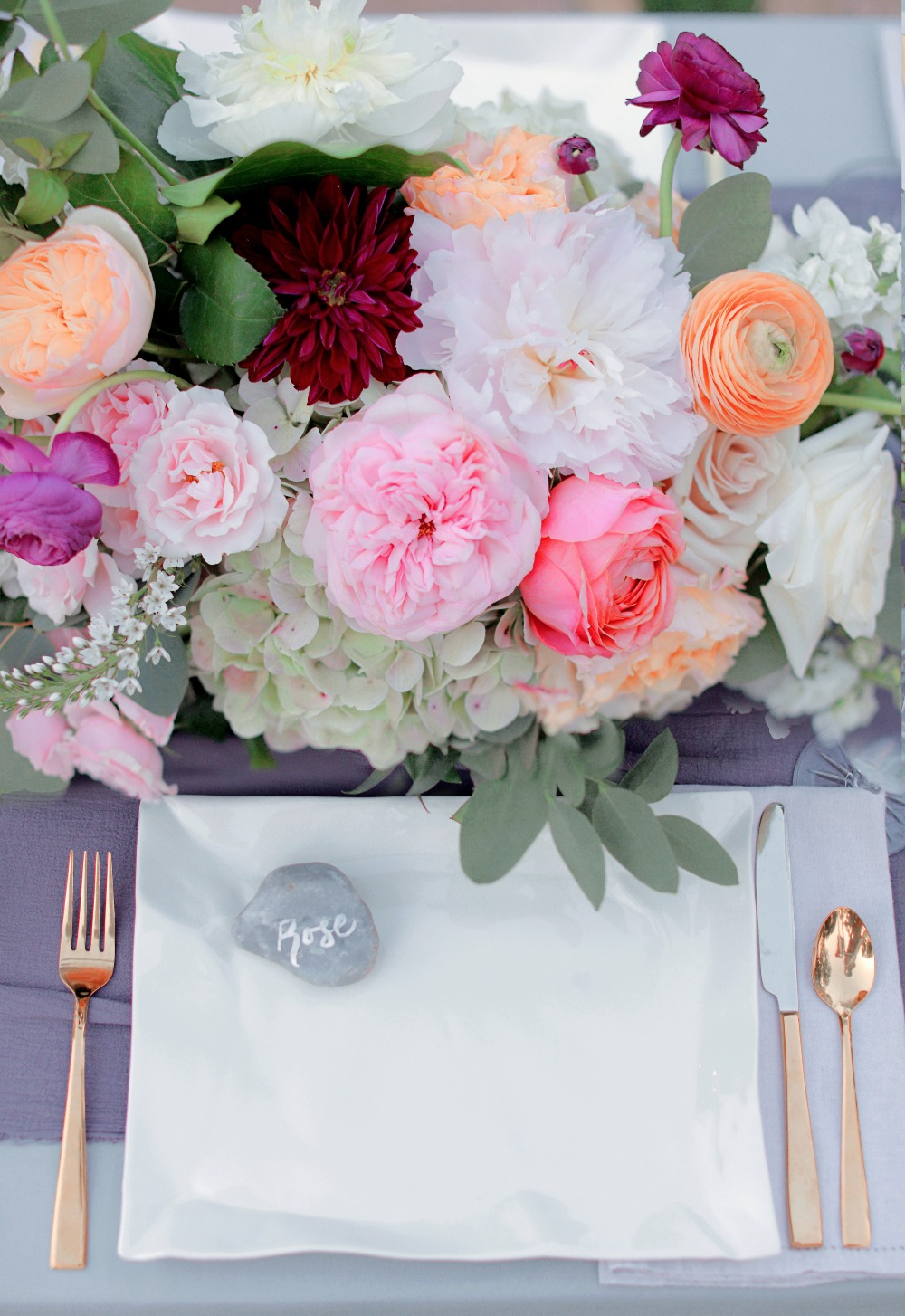 Peach and pink centerpiece