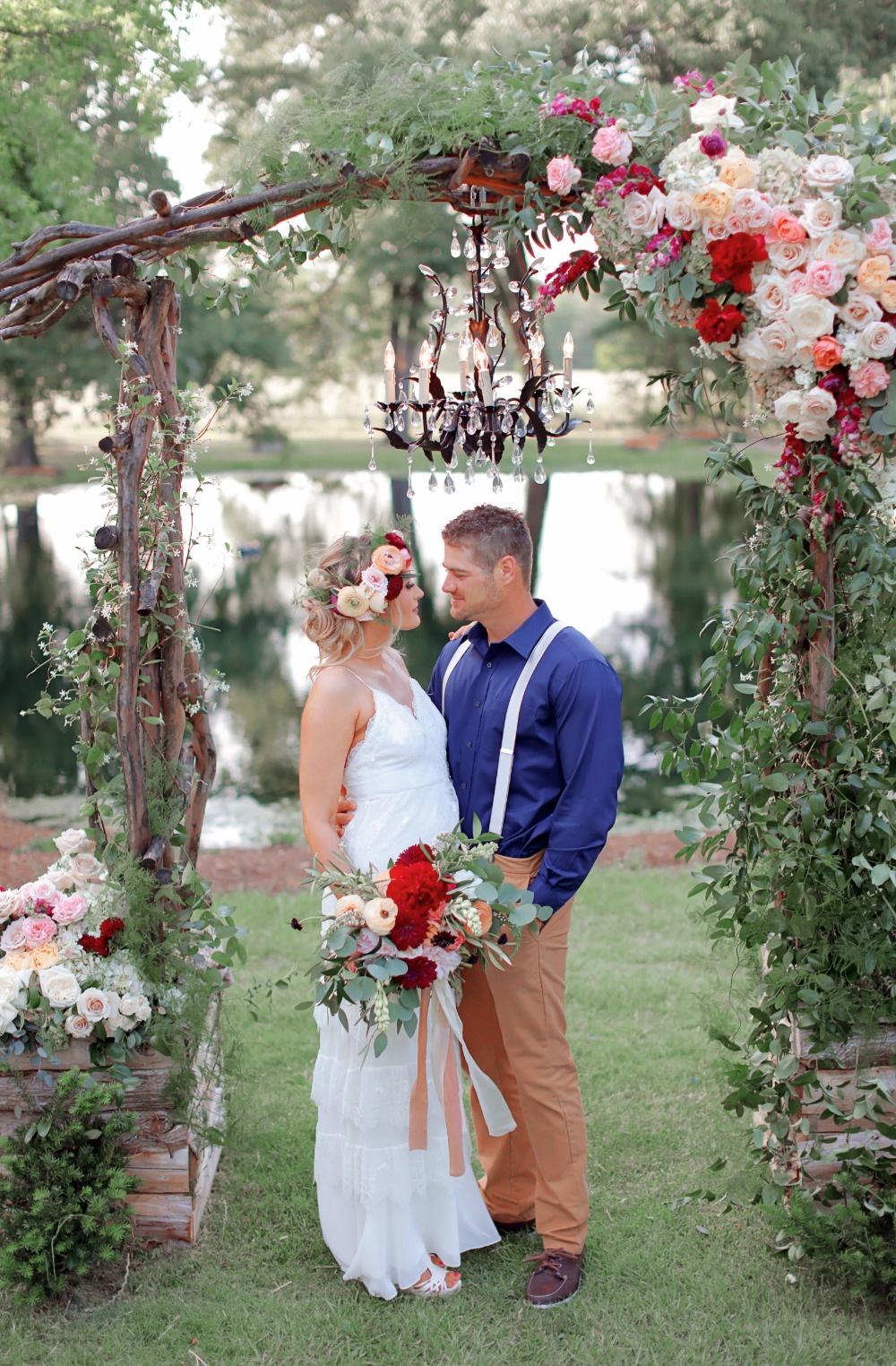 Lakeside ceremony idea with chandelier