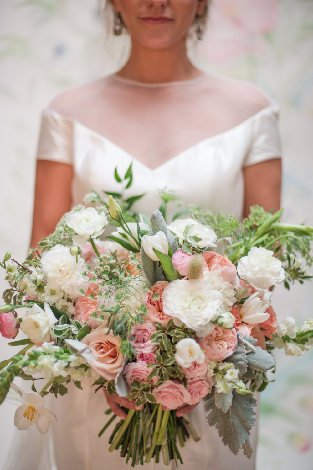 white peach and pink large wedding bouquet