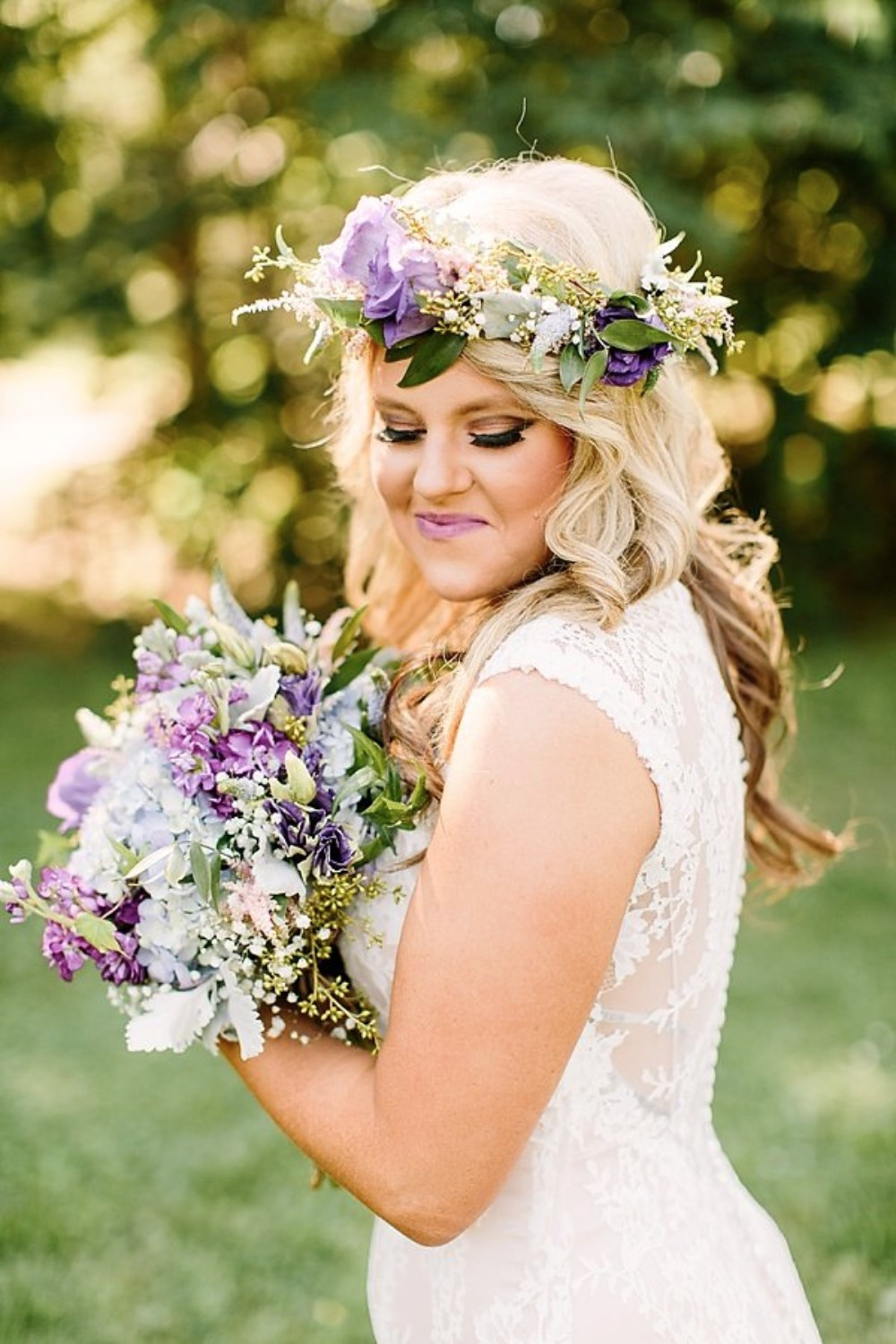 wedding hair and makeup ideas plus flower halow