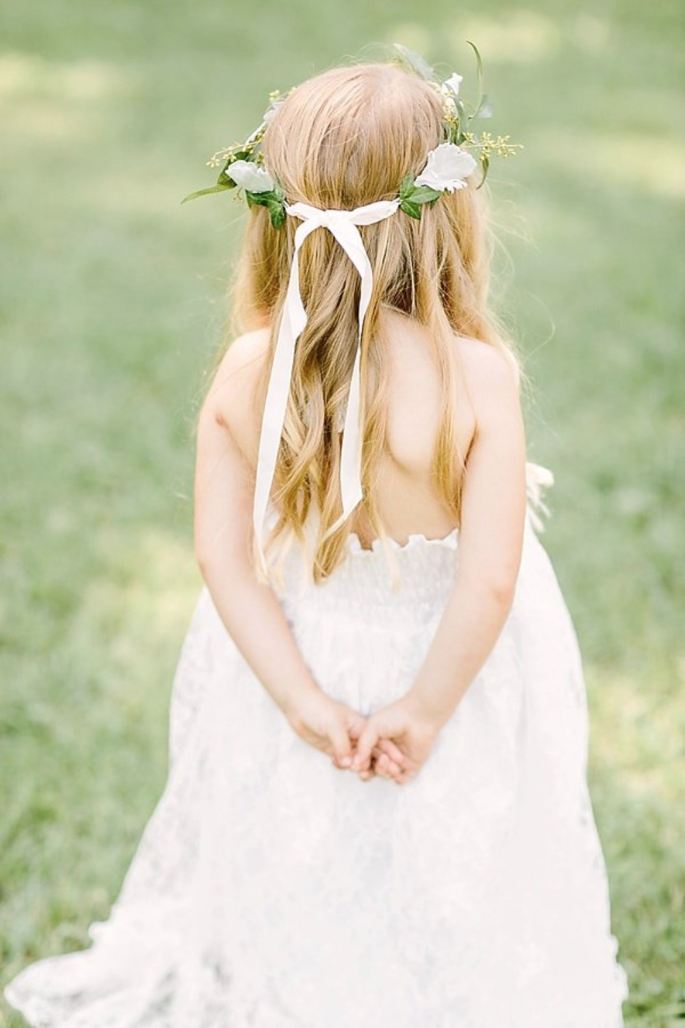 ribbon tied flower halo for your flower girl