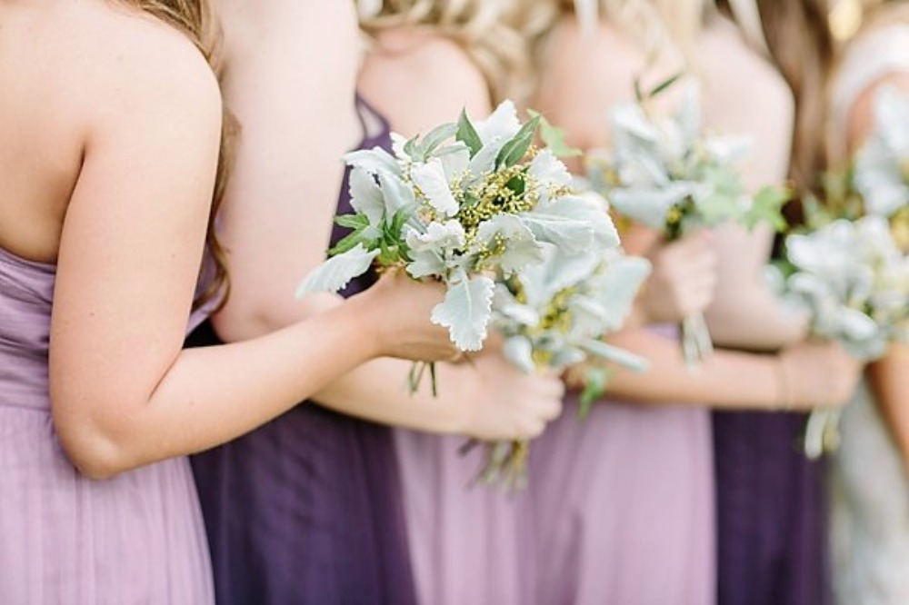 seeded eucalyptus and dusty miller bouquets