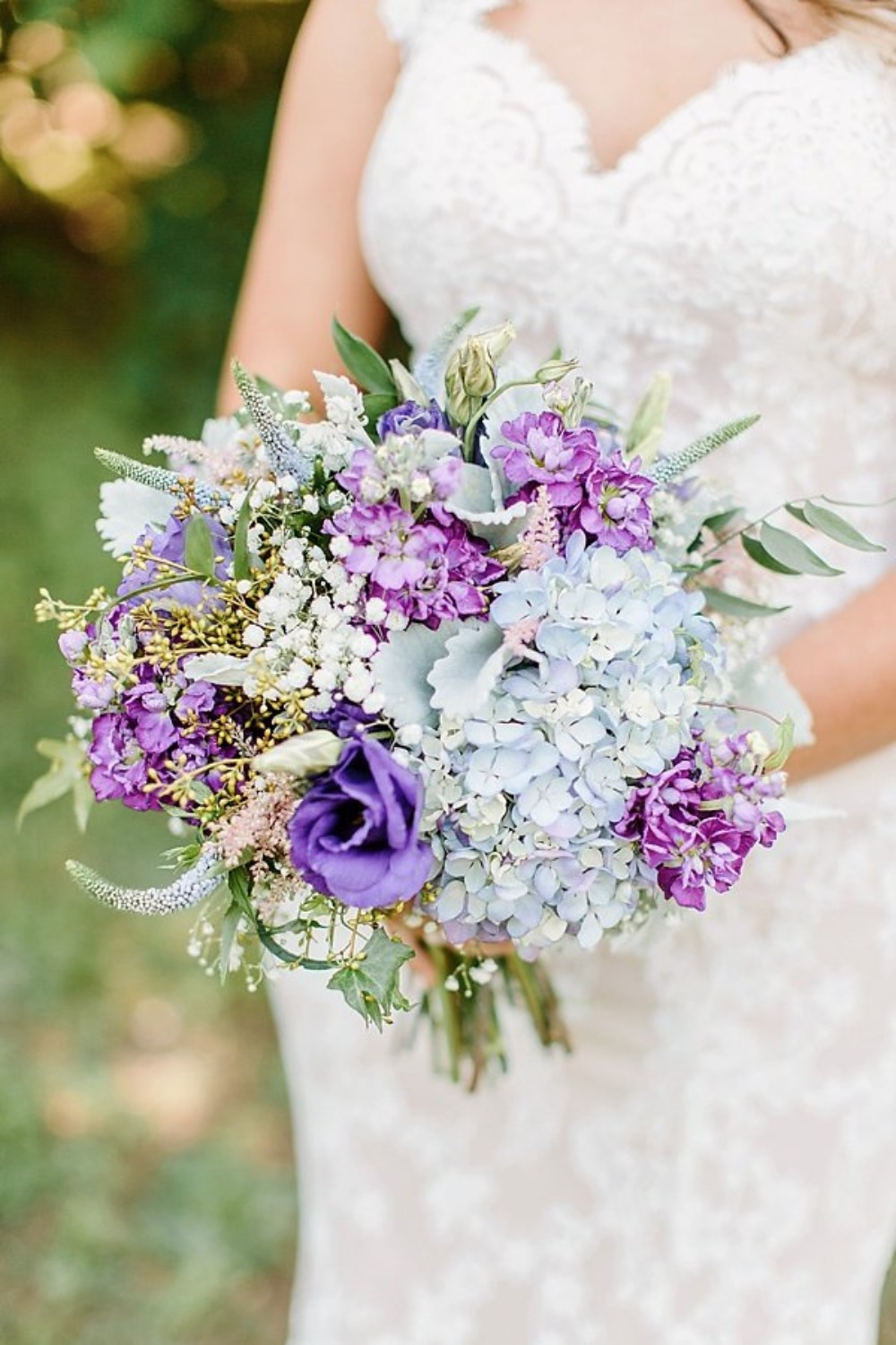 ice blue and purple wedding bouquet
