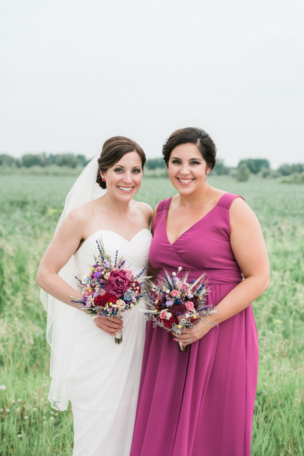 bridesmaid in fuchsia pink dress