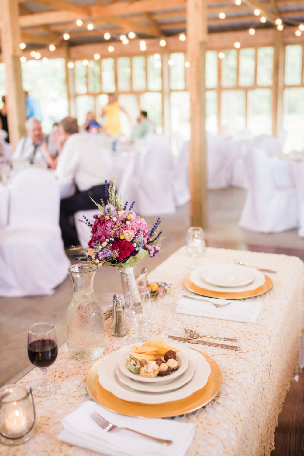 shabby chic gold and white wedding reception