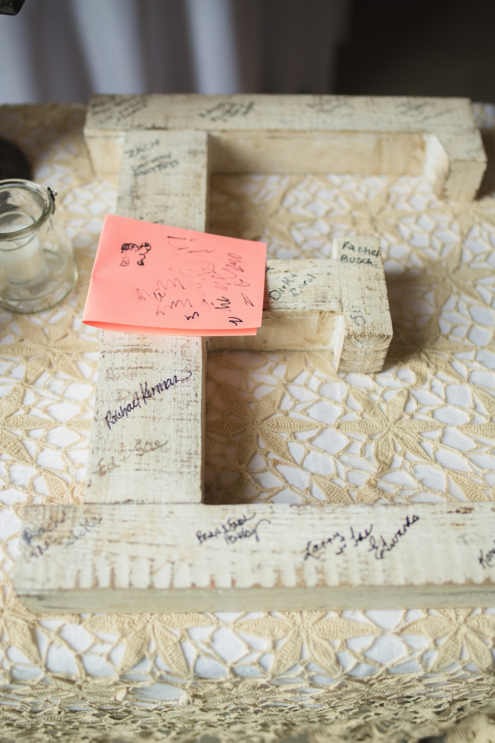 wooden initial guest book