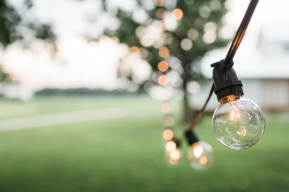bistro lights for outdoor wedding reception