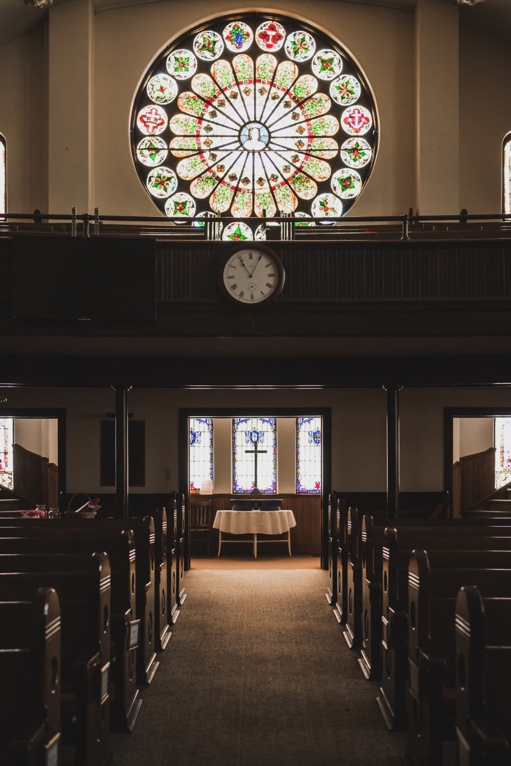 stained glass windows at the wedding chapel