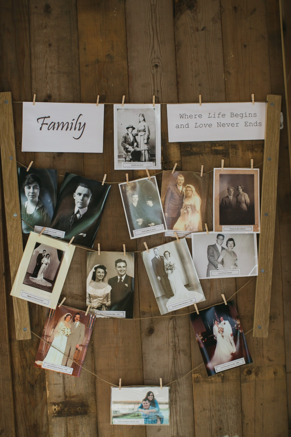 family wedding photo display