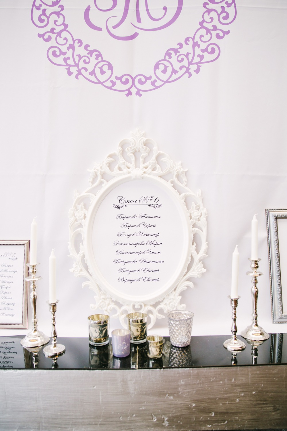 Seating chart with vintage frames