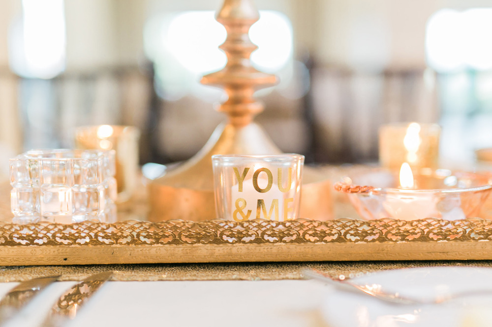 you and me gold candle holder