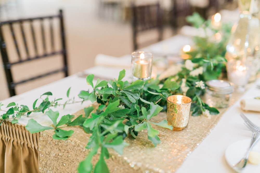 gold glitter and greenery table runner
