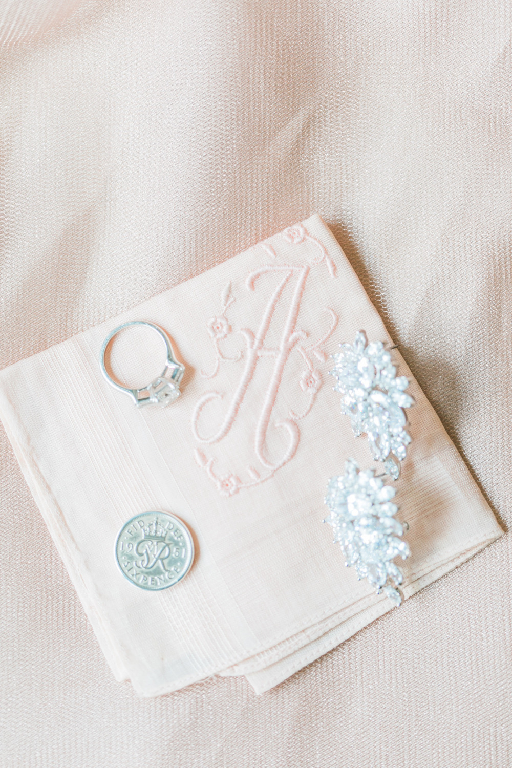 wedding handkercheif with monogram