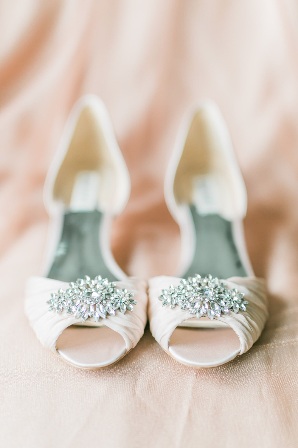 blush bewjeweled wedding heels from Badgley mischka