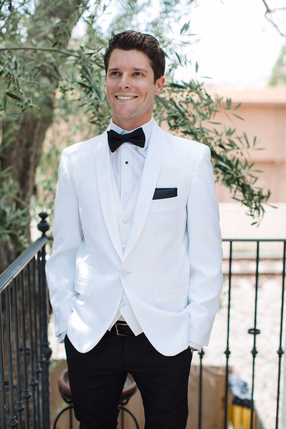 White and black tux