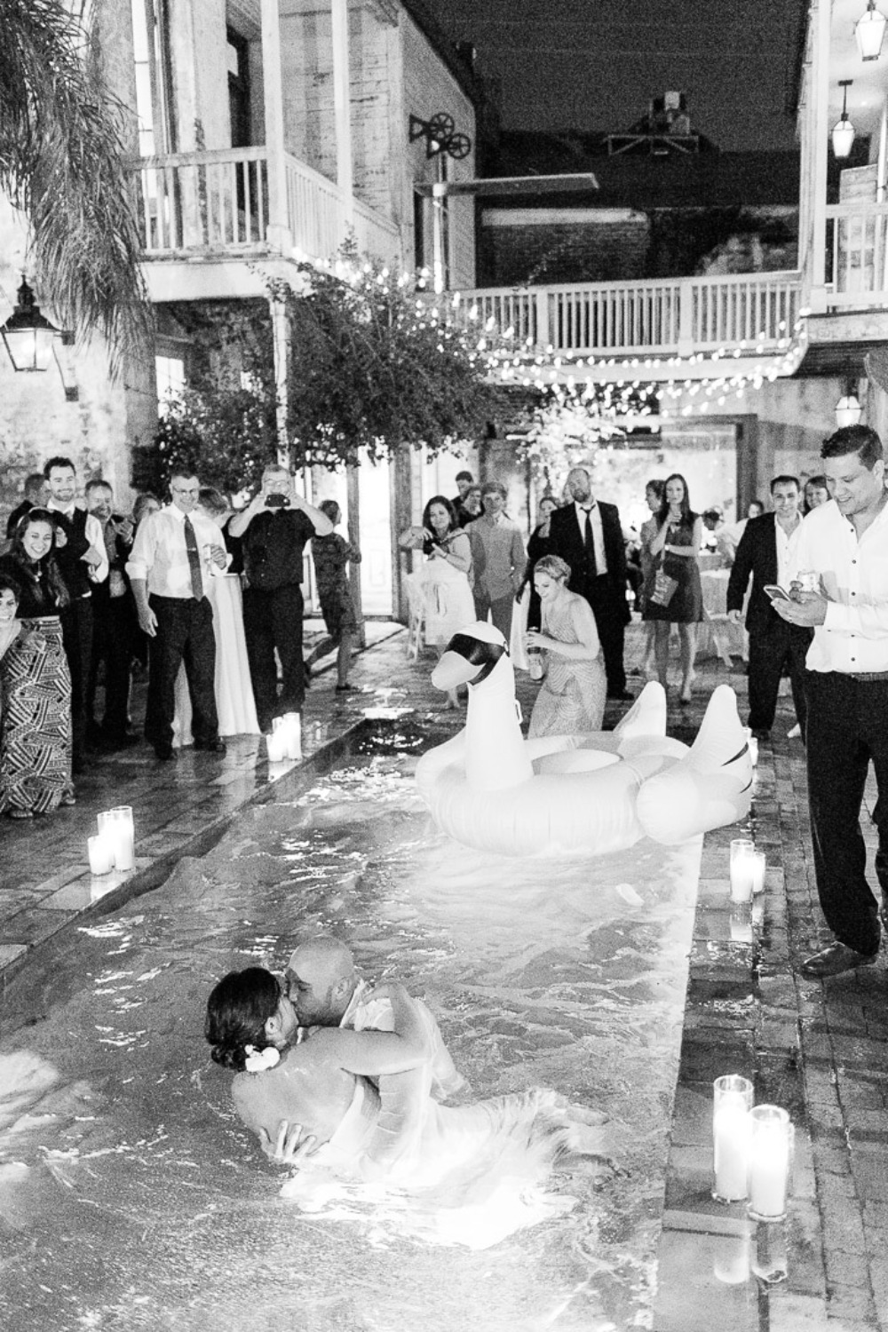 wet wedding kiss in the pool