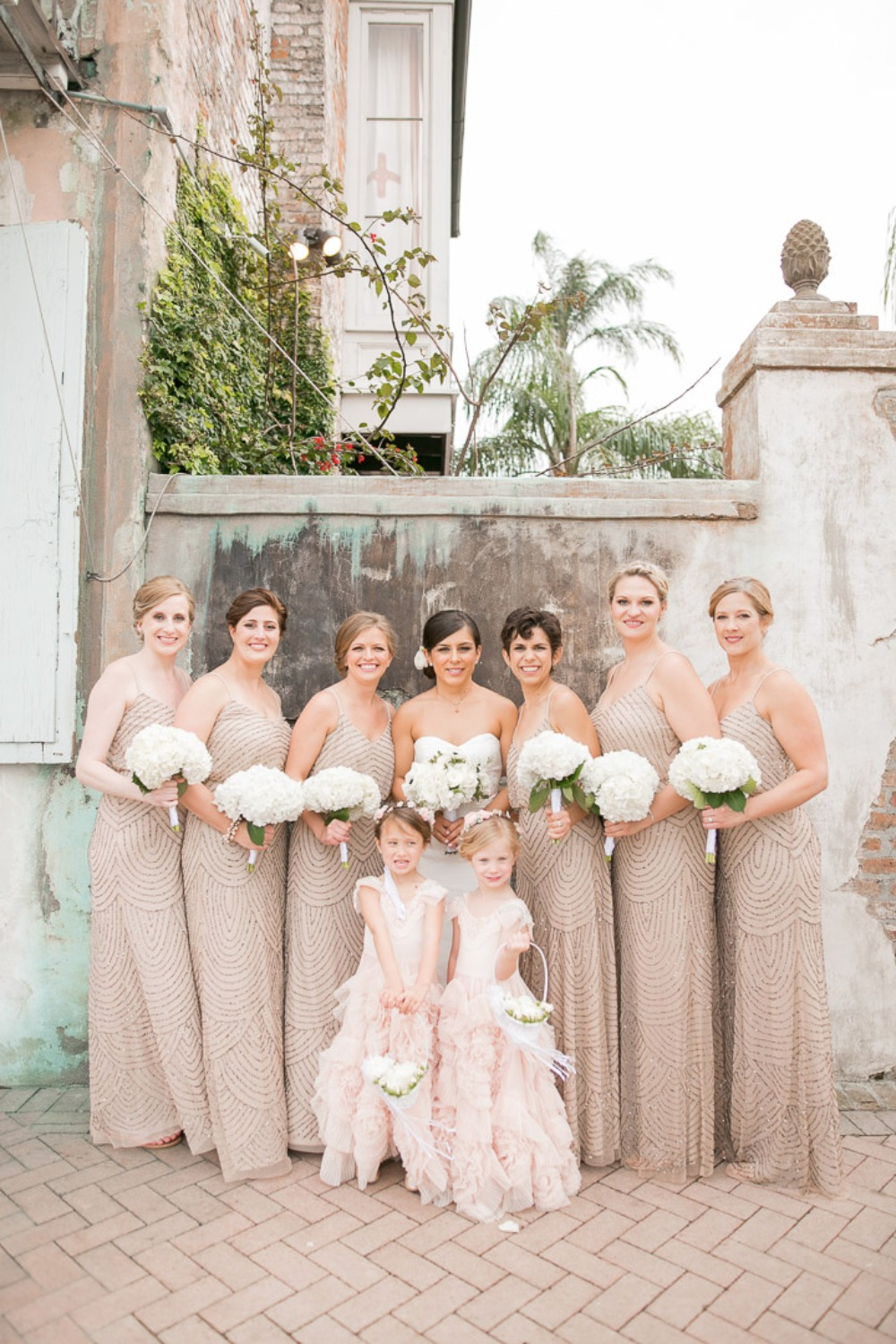 champagne and sequin bridesmaid dresses