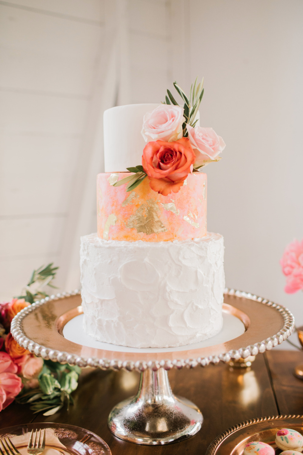 3 teir wedding cake with different textures
