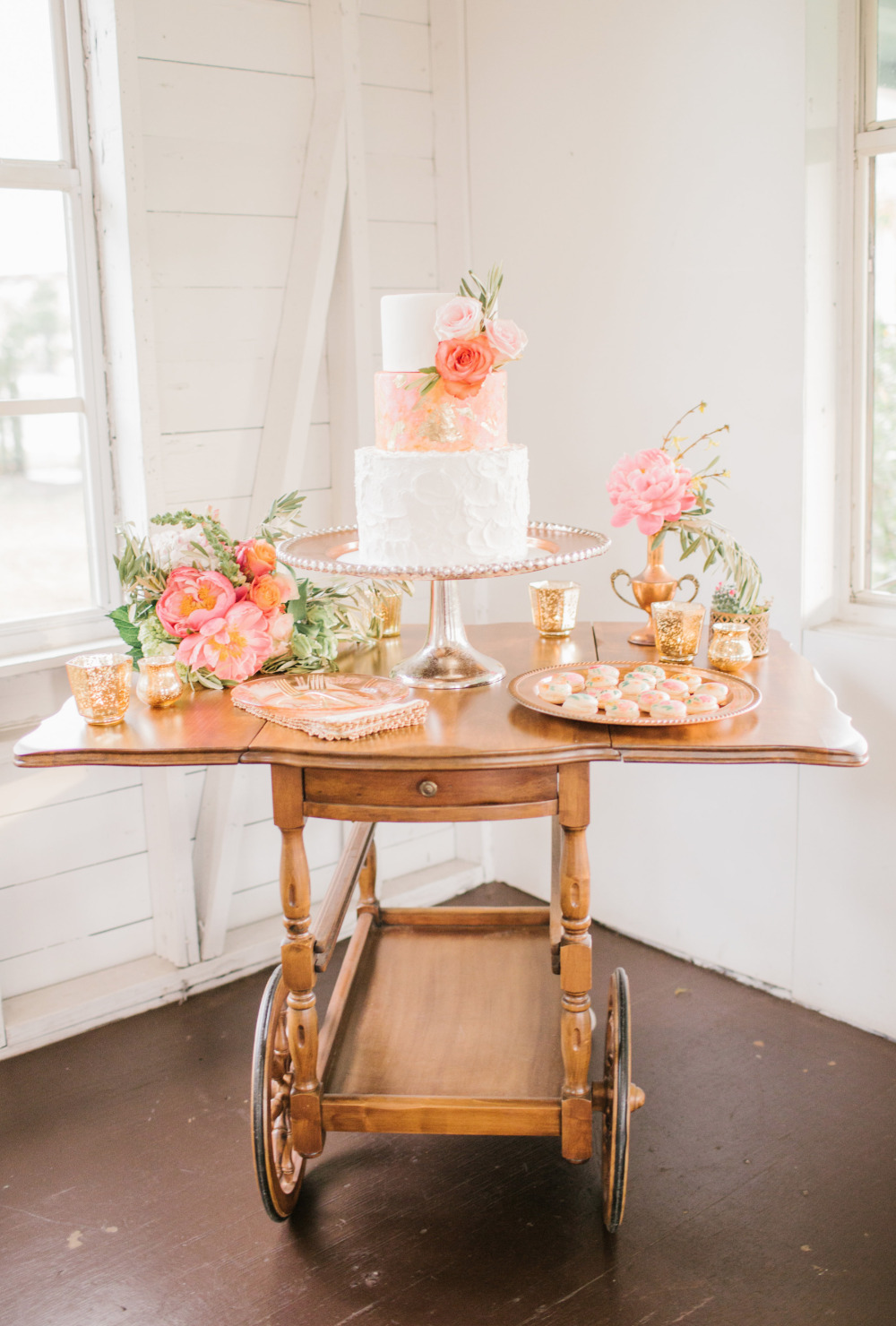 vintage cart dessert table idea