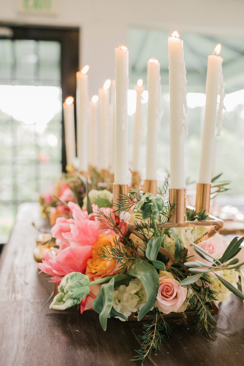 wedding floral centerpiece with taper candles