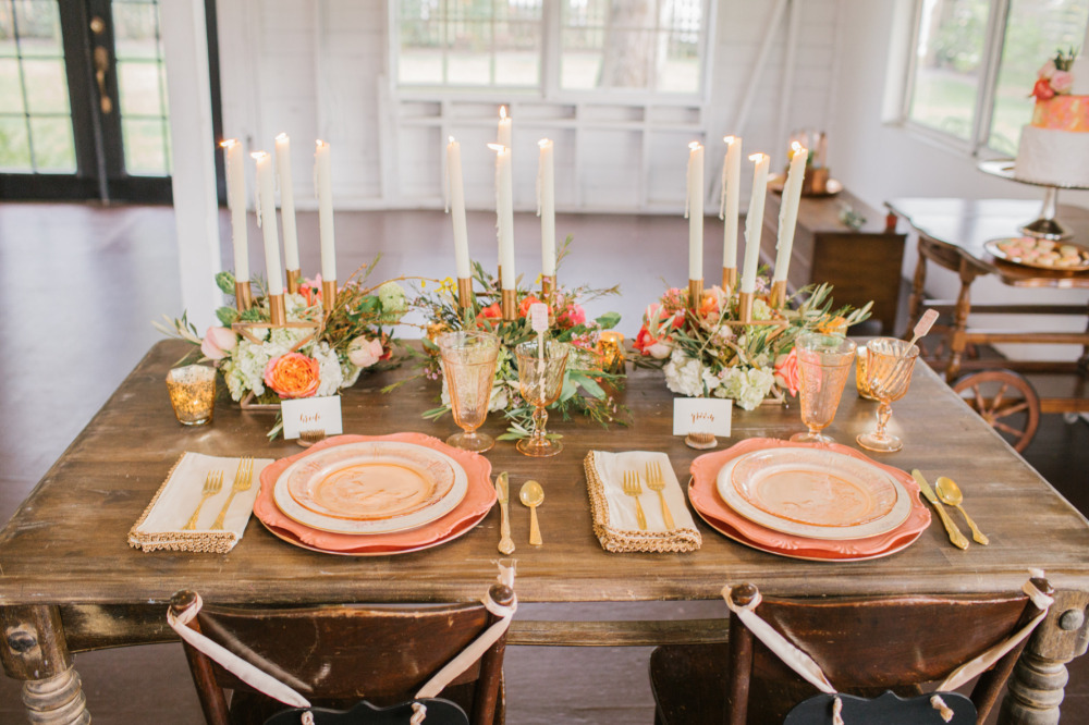 blush and gold and copper sweetheart table ideas